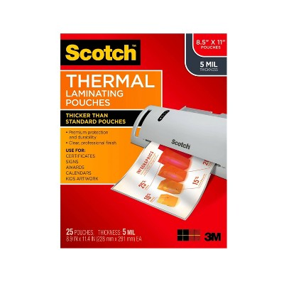 Scotch 25ct Thermal Laminating Pouches Letter Size 5mm