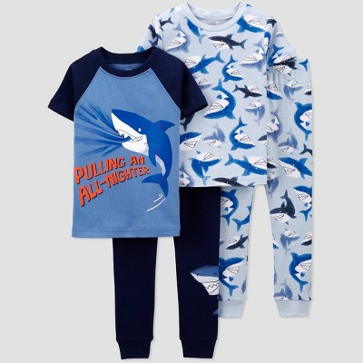 Baby Boys' 4pc North Shark Pajama Set - Just One You® made by carter's Blue/Navy 9M
