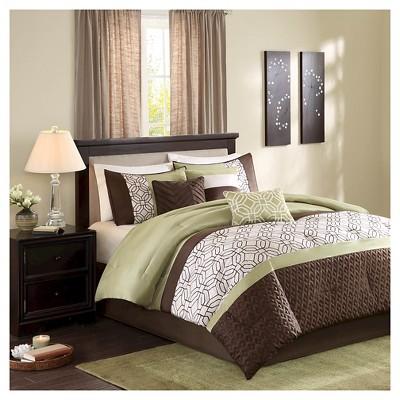 Arlan Geometric Comforter Set (Queen)Green - 7pc