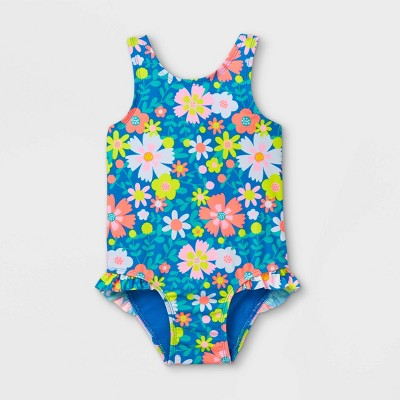 Toddler Girls' Floral Cutout Back and Ruffle Leg One Piece Swimsuit - Cat & Jack™ Blue