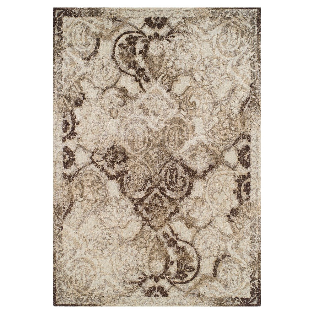 Brown Abstract Woven Area Rug - (5'3