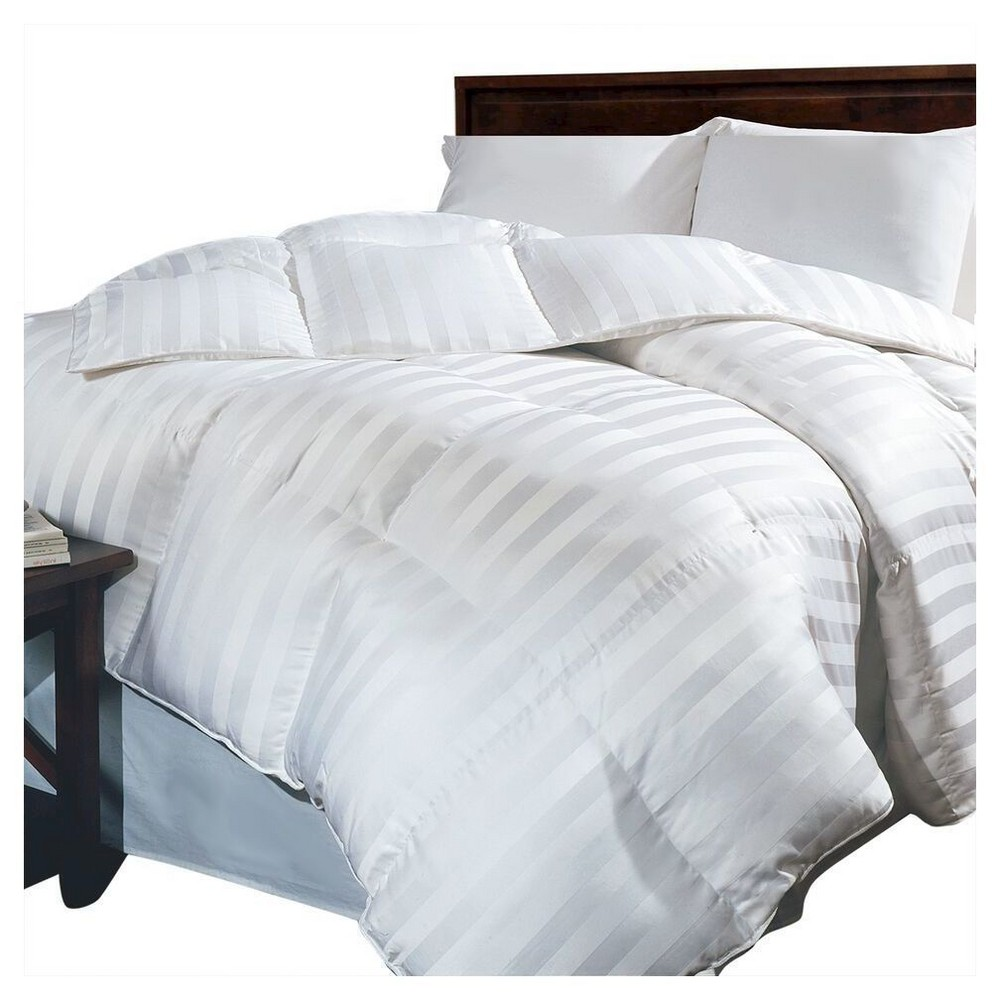 Image of Siberian Damask Stripe Down All Seasons Comforter (Full/Queen) White - Blue Ridge Home Fashions