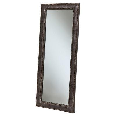Gavin Leather Floor Mirror - Brown - Abbyson