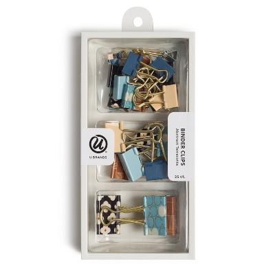 U Brands 25ct Binder Clip Set - Abstract Terracotta