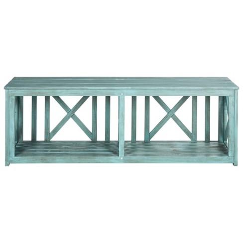 Amalfi Wood 3-Seater Patio Bench with Storage - Safavieh® - image 1 of 3