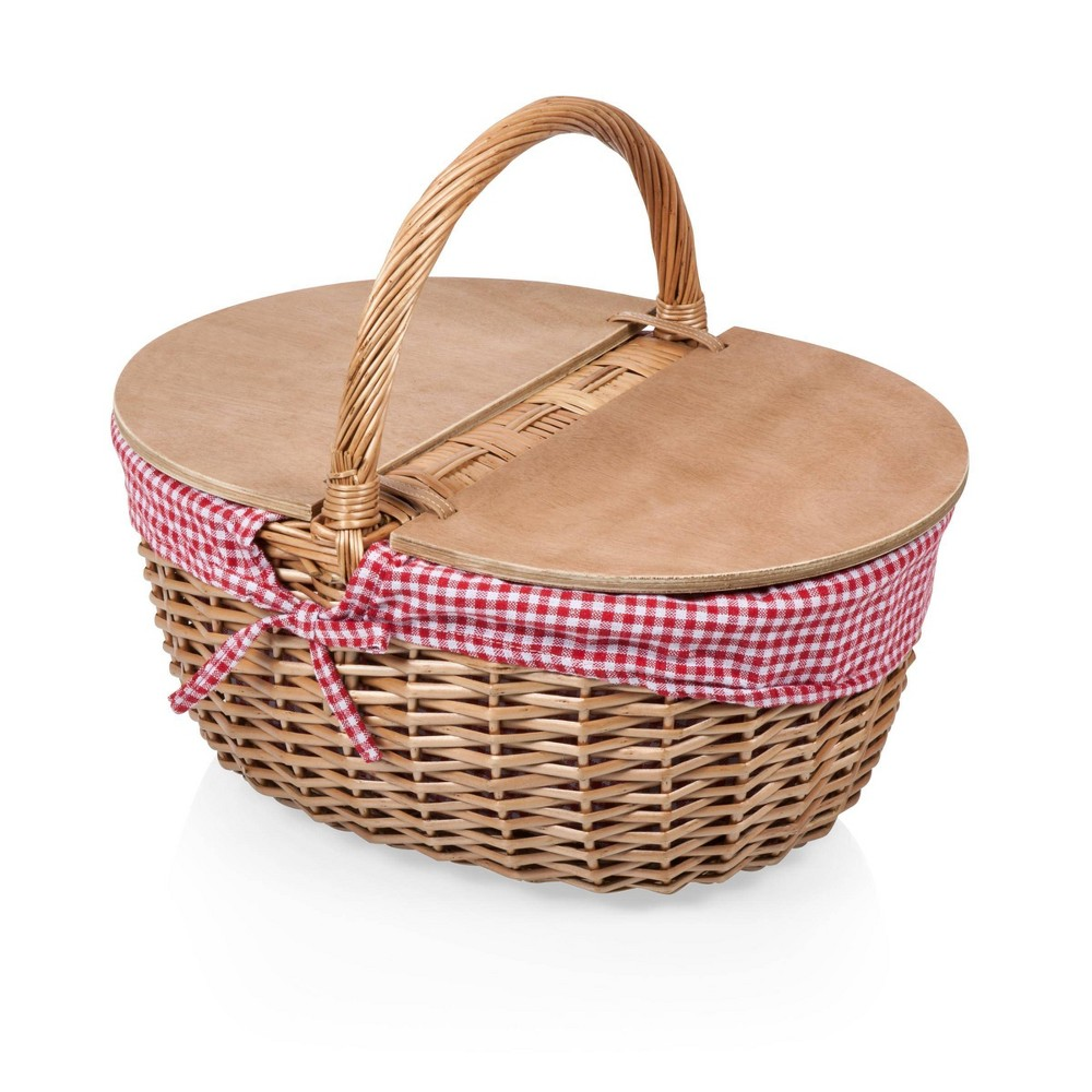 Image of Picnic Time Country Basket - Red and White Gingham
