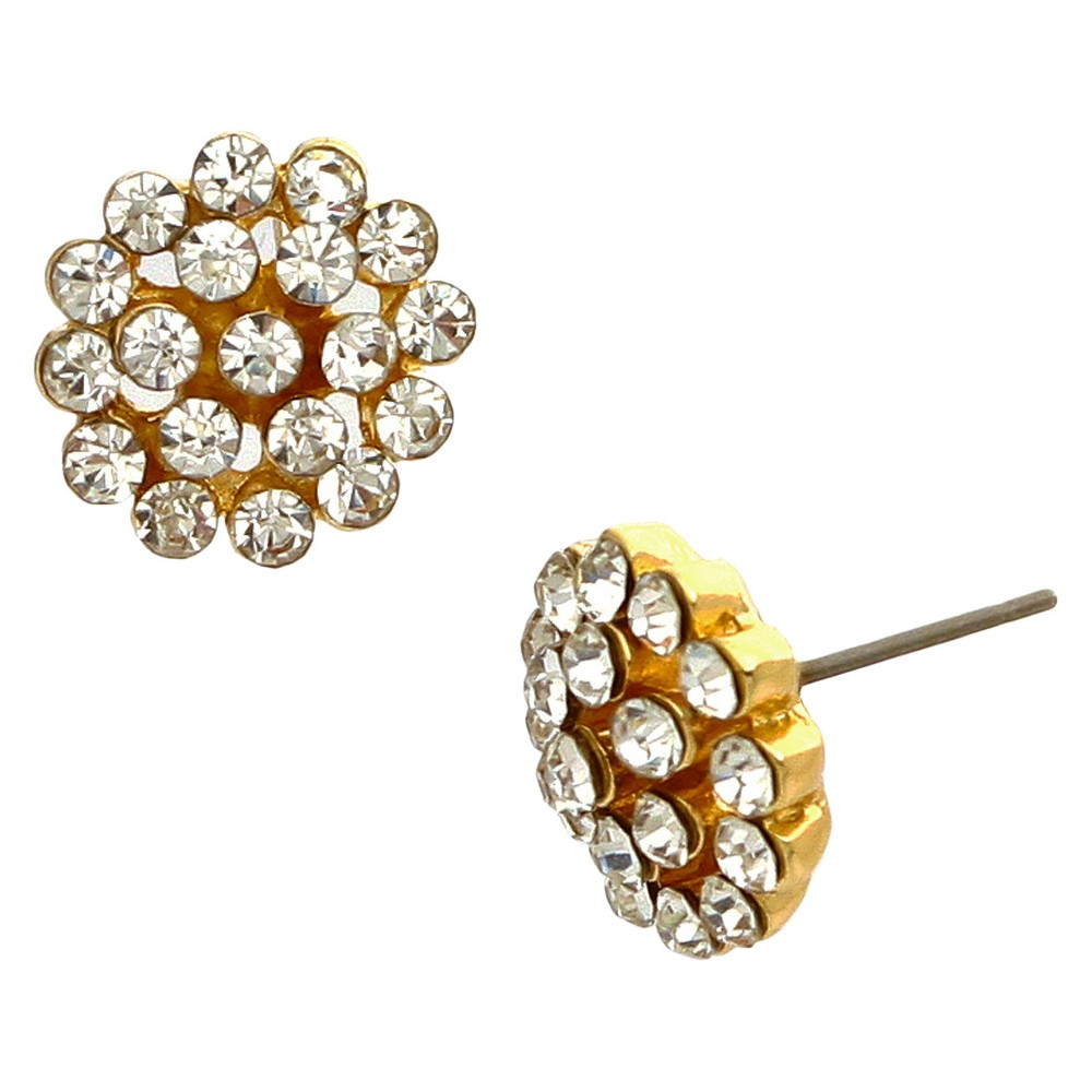 Flower Crystal Earring - Gold, Women's