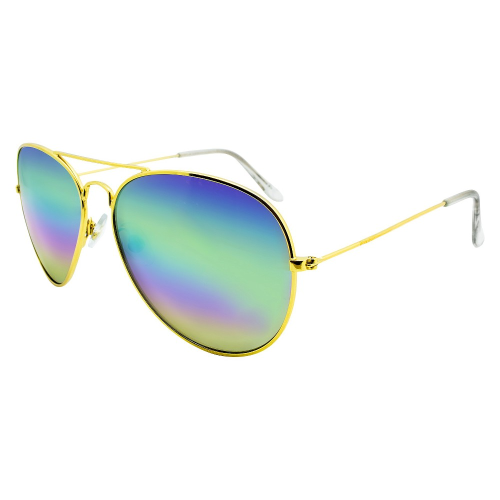 Women's Aviator Sunglasses with Multicolor Lens - Wild Fable Gold Men's Aviator Sunglasses deliver classic shades with colorful, mirrored lenses. They sport clear nose pads and temple tips for a comfy fit. Plus, these mirrored sunglasses for men protect your eyes from the sun's harmful UV rays. Color: Gold. Gender: Unisex. Age Group: Adult. Pattern: Solid.