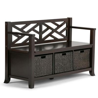 Nolan Solid Wood Storage Bench with Basket Storage Espresso Brown - Wyndenhall