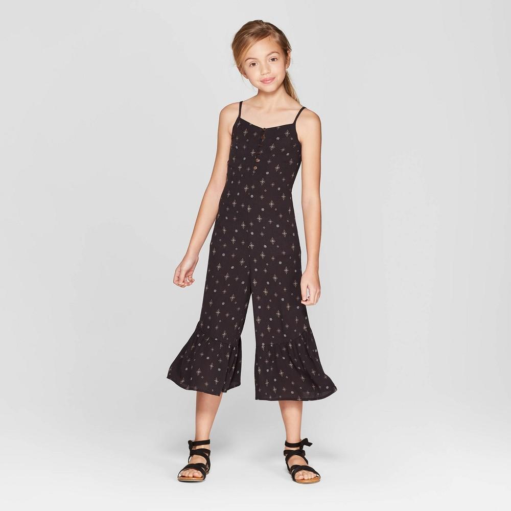 Girls' Buttoned Jumpsuit - art class Black XL
