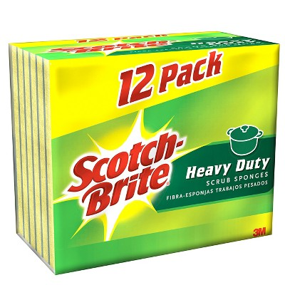 Scotch-Brite® Heavy Duty Scrub Sponge, Yellow/Green, 12-Pack