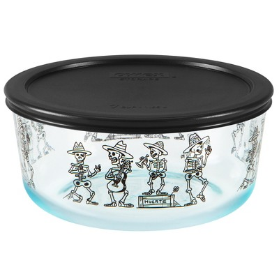 Pyrex 7 Cup Glass Dancing Skeleton Food Storage Container