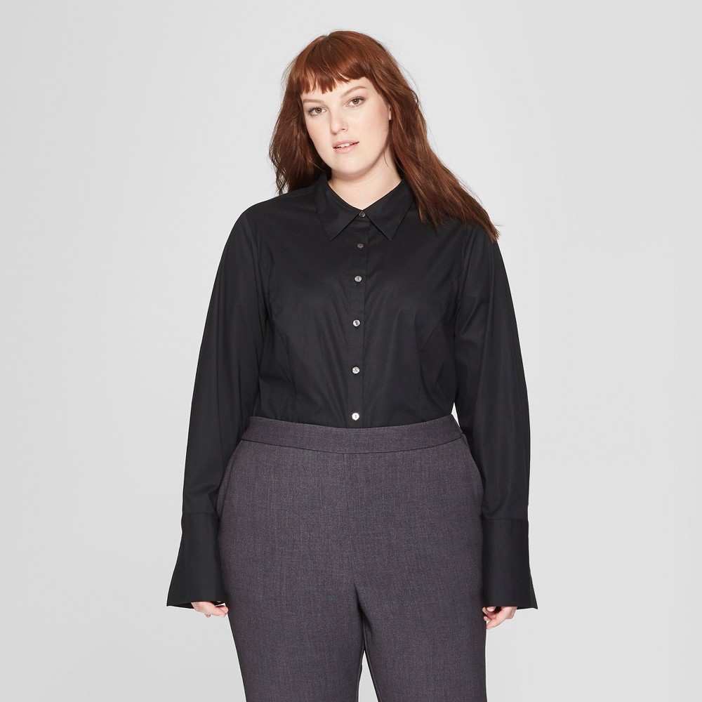 Women's Plus Size Long Sleeve Fitted Button-Down Collared Shirt - Prologue Black 3X