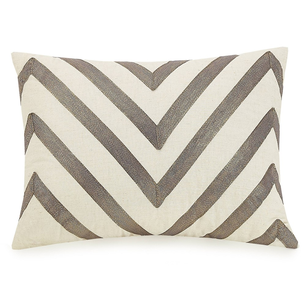 "Image of ""Ayesha Curry 12""""X16"""" Modern Ombre Chevron Throw Pillow Black"""
