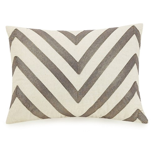 "Ayesha Curry 12""X16"" Modern Ombre Chevron Throw Pillow Black - image 1 of 3"