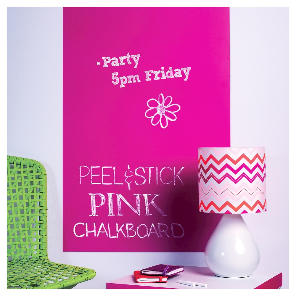 Peel & Stick Chalkboard Wall Decals Pink - Wallies, Peppy Pink