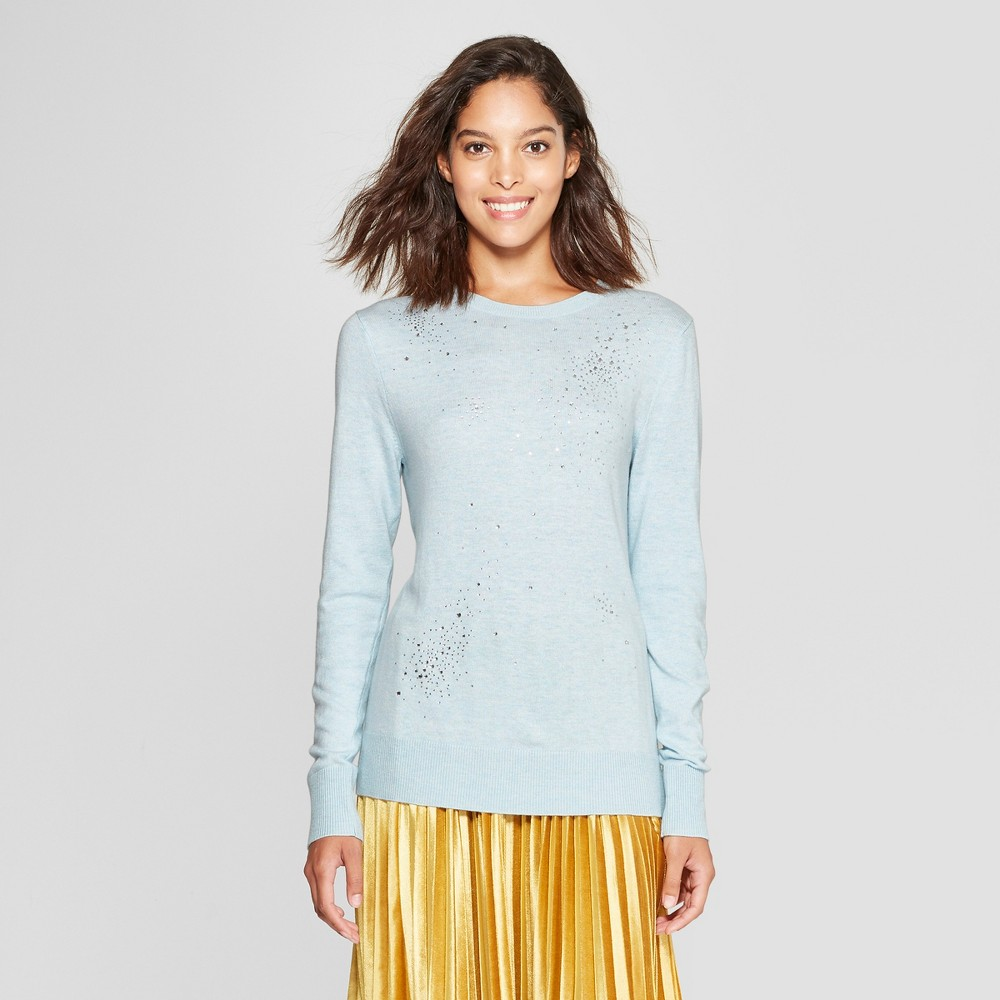 Women's Crew Neck Shine Pullover Sweater - A New Day Light Blue S