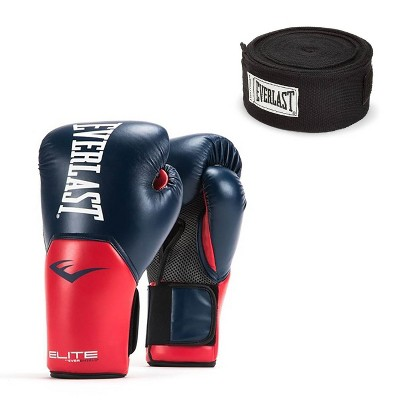 Everlast Navy/Red Elite Pro Boxing Gloves 16 ounce & Black 120 Inch Hand Wraps
