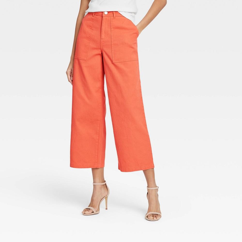 Women 39 S High Rise Wide Leg Pants Who What Wear 8482 Orange 6