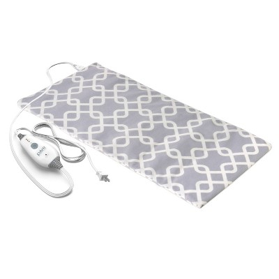 "Pure Enrichment PureRelief Express Designer Series Electric Heating Pad - 12"" x 2"" - Gray Trellis"