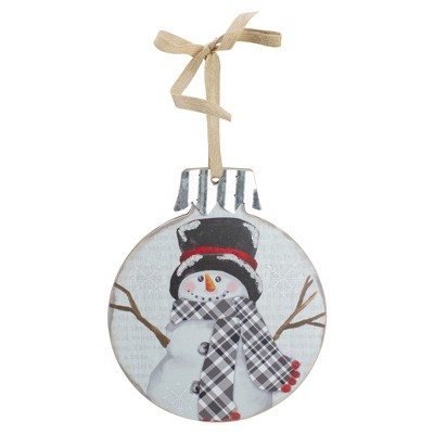 """Northlight 9.5"""" Black and Red Smiling Snowman Christmas Wall Decor"""
