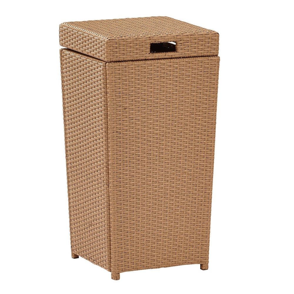 Image of Palm Harbor Outdoor Wicker Trash Bin - Brown