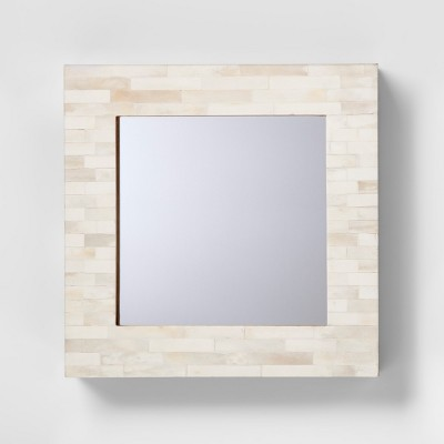 Square Wood and Faux Bone Mirror - Threshold™