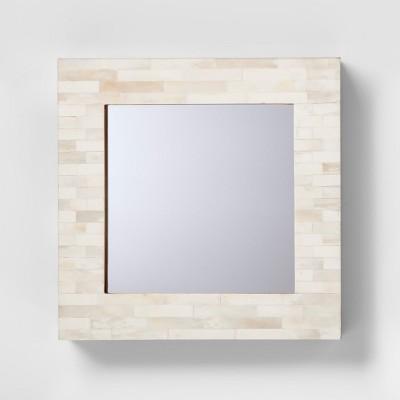 Square Wood and Faux Bone Mirror - Threshold™