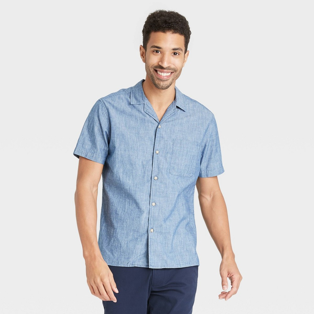 Men's Vintage Workwear Inspired Clothing Mens Standard Fit Camp Collar Short Sleeve Button-Down Shirt - Goodfellow  Co Indigo 2XL $19.99 AT vintagedancer.com