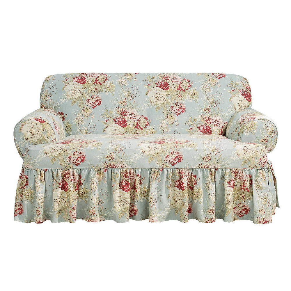 Marvelous Ballad Bouquet T Loveseat Slipcover Robins Egg Blue Sure Fit Ncnpc Chair Design For Home Ncnpcorg
