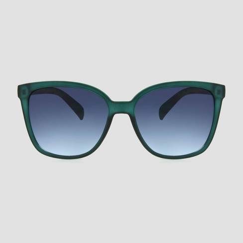 Women's Crystal Square Sunglasses - A New Day™ Green - image 1 of 2