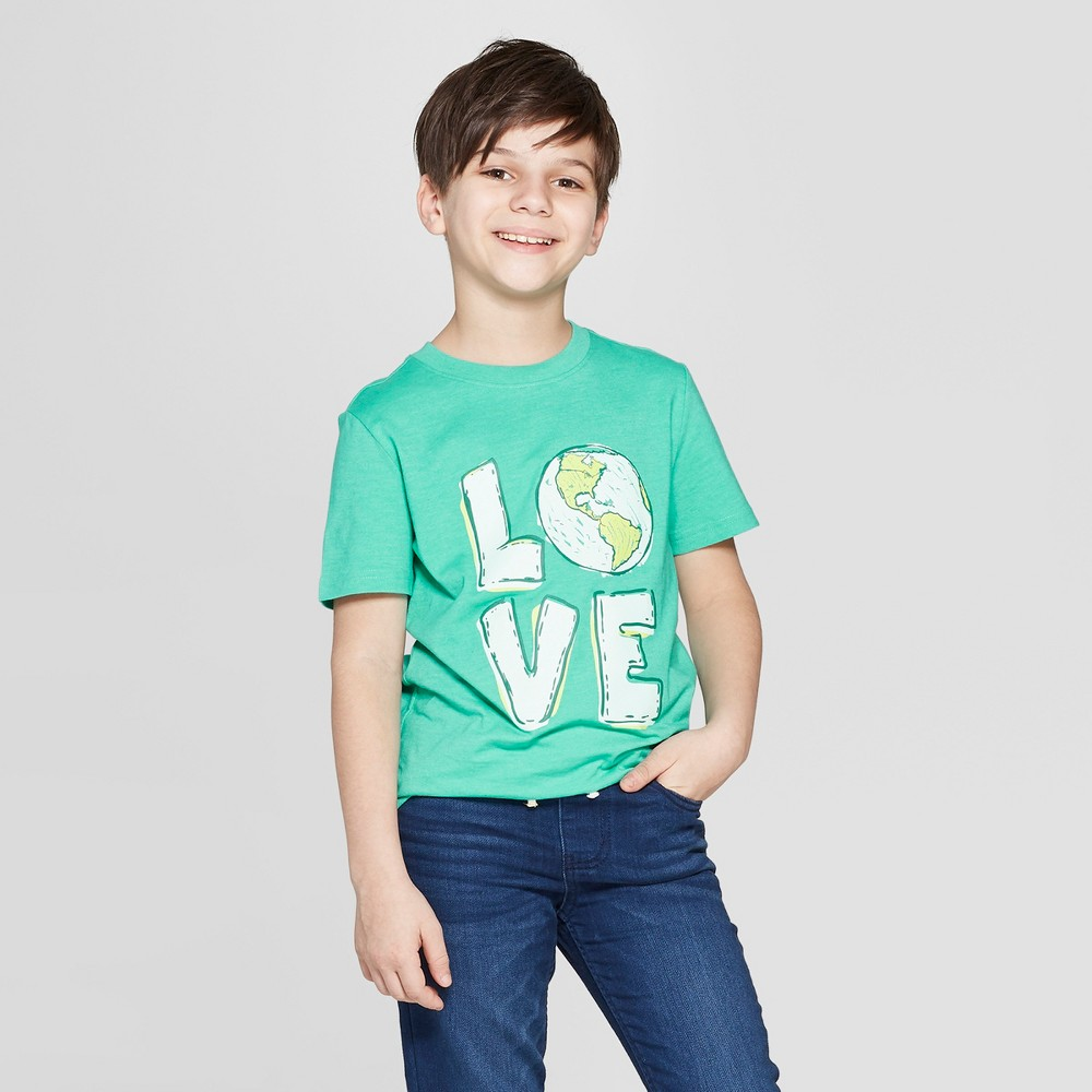 Boys' Earth Love Short Sleeve Graphic T-Shirt - Cat & Jack Green XL