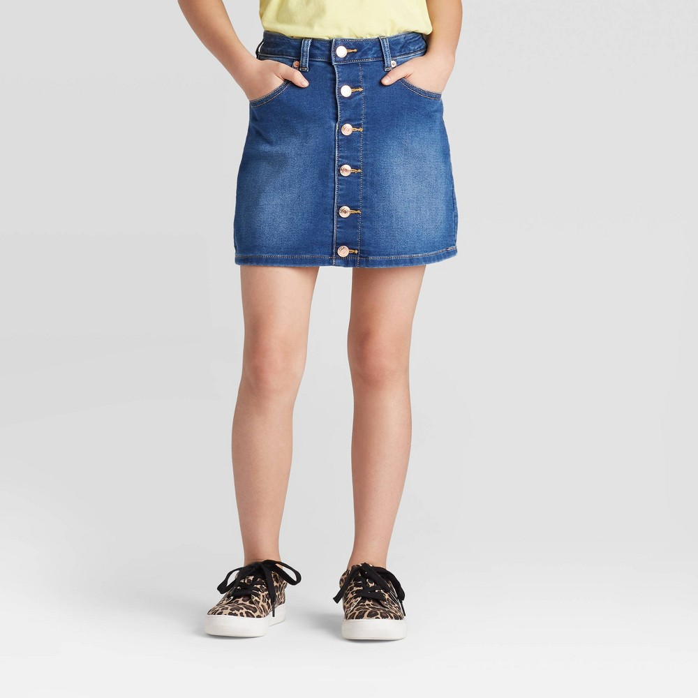 Image of Girls' Button-Front Jean Skirt- Cat & Jack Medium Wash L, Girl's, Size: Large, Blue
