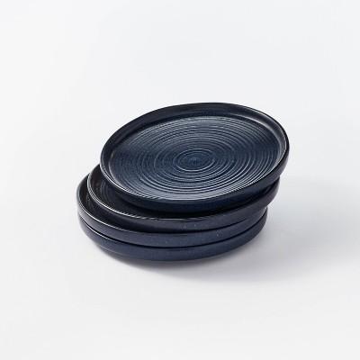 """8.5"""" 4pk Stoneware Glazed Salad Plates Blue - Threshold™ designed with Studio McGee"""