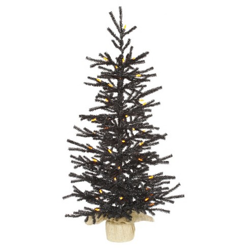 3ft Black Pistol Artificial Christmas Tree Slim With Orange LED ...