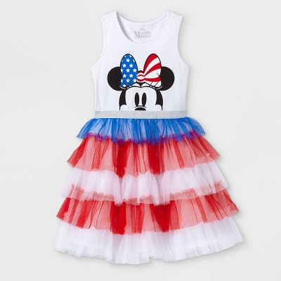 Girls' Disney Minnie Mouse Tutu Dress - White/Red/Blue