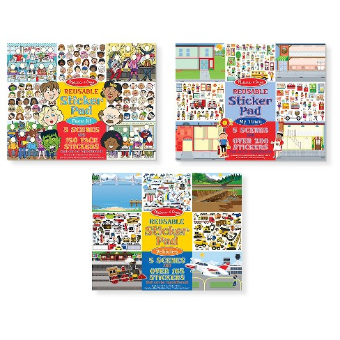 Melissa & Doug Reusable Sticker Pads Set - Face It!, My Town, and Vehicles - image 1 of 4