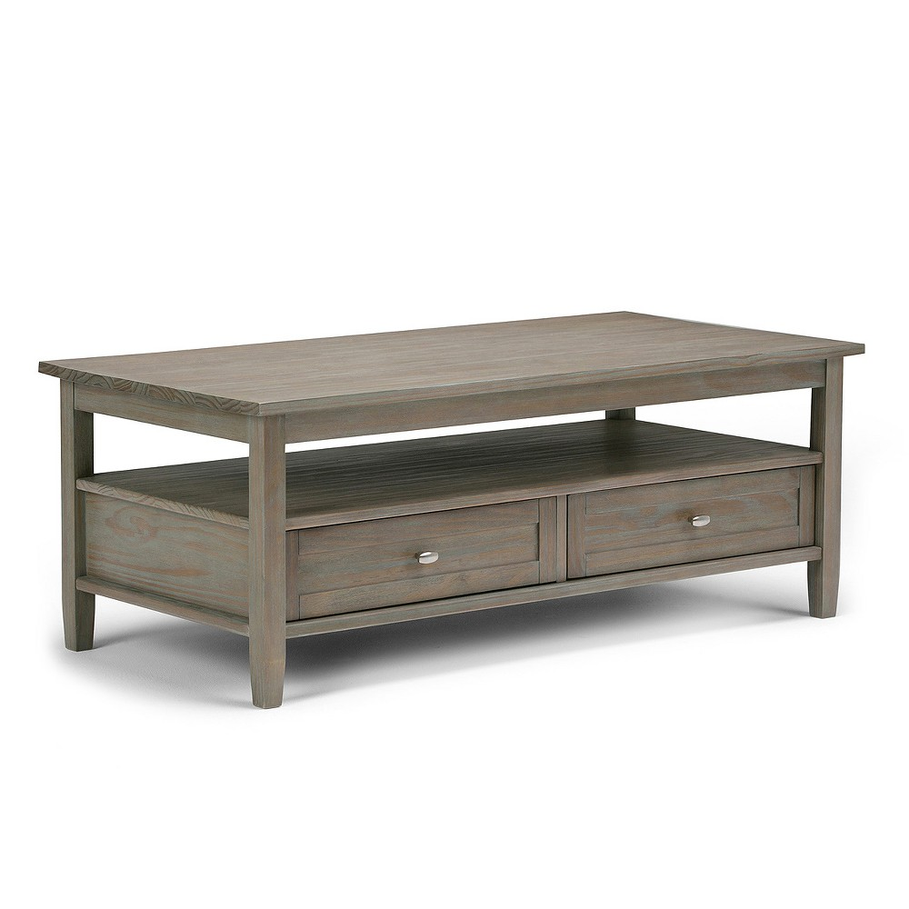 Norfolk Solid Wood Coffee Table Distressed Gray - Wyndenhall