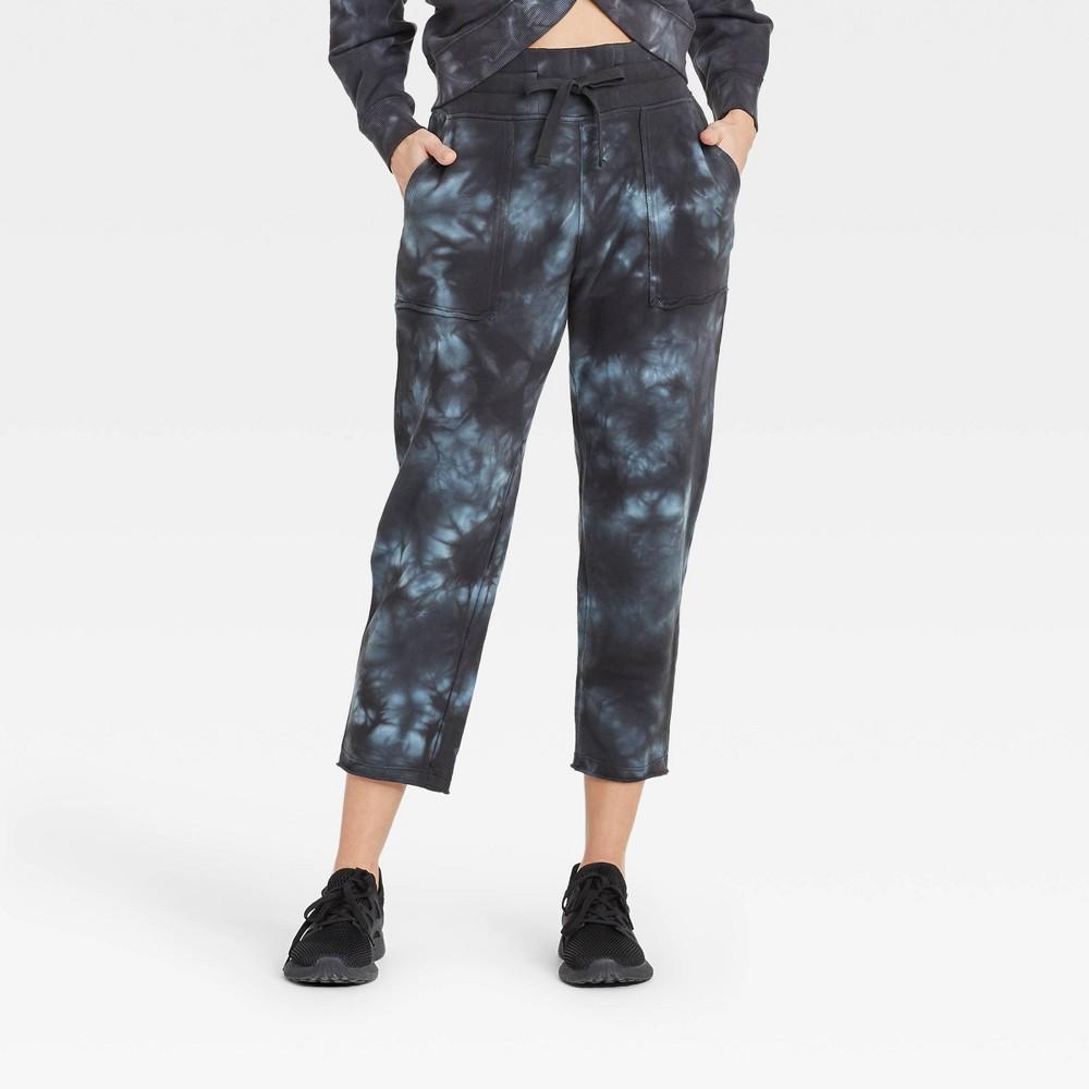 Women 39 S High Rise Cropped Straight Leg Jogger Pants With Raw Hem Joylab 8482 Black Tie Dye L