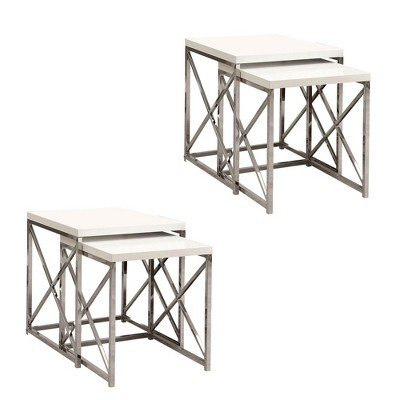Monarch Specialties Contemporary 2 Piece Nesting End Tables, White (2 Pack)