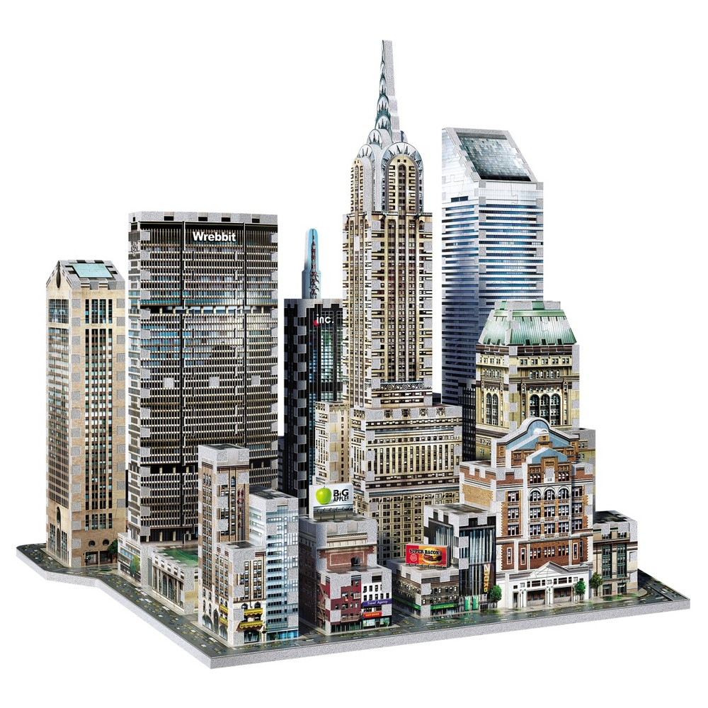 Wrebbit 3D - 2010 Midtown East New York 3D Puzzle 875pc Chrysler Building (1930), MetLife Building (1963), Citigroup Center (1977), Sony Tower (1984), Grand Central Station (1913). All these remarkable icons and more at your fingertips to recreate an 875 piece 3D puzzle version of one of New York City's famous districts-Midtown East Manhattan. Each piece has foam backing. Age - 15 and up. Approximate finished dimensions are 14.47 x 15.55 x 13.98 inches. Warning: Choking Hazard - Small parts. Not for children under 3 yrs. Gender: Unisex.
