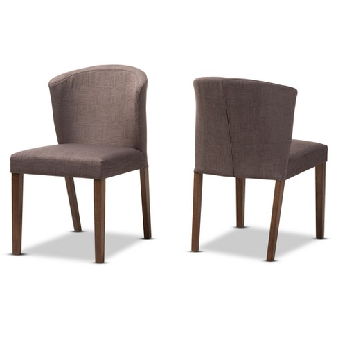 Set of 2 Cassie Mid Century Modern Walnut Wood Fabric Upholstered Dining Chair - Baxton Studio - image 1 of 8