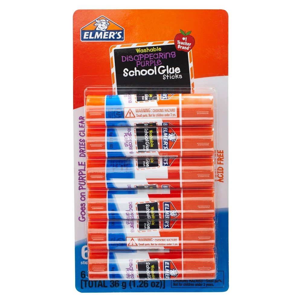Image of Elmer's 6ct Washable Glue Sticks Disappearing Purple