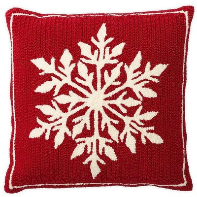 Indoor/Outdoor Snowflake Holiday Hooked Throw Pillow