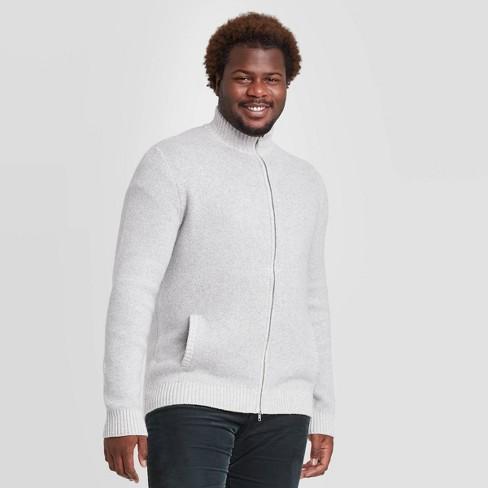 Men's Big & Tall Jacquard Regular Fit Full Zip Sweater Goodfellow & Co™ Light Gray 5XB