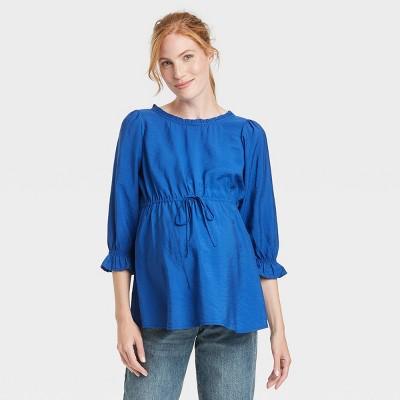 3/4 Sleeve Ruffle Bump Woven Maternity Blouse - Isabel Maternity by Ingrid & Isabel™ Blue