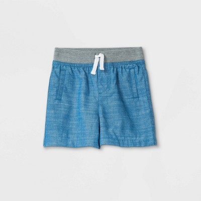 Baby Boys' Chambray Woven Shorts Pull-On Pants - Cat & Jack™ Blue Newborn