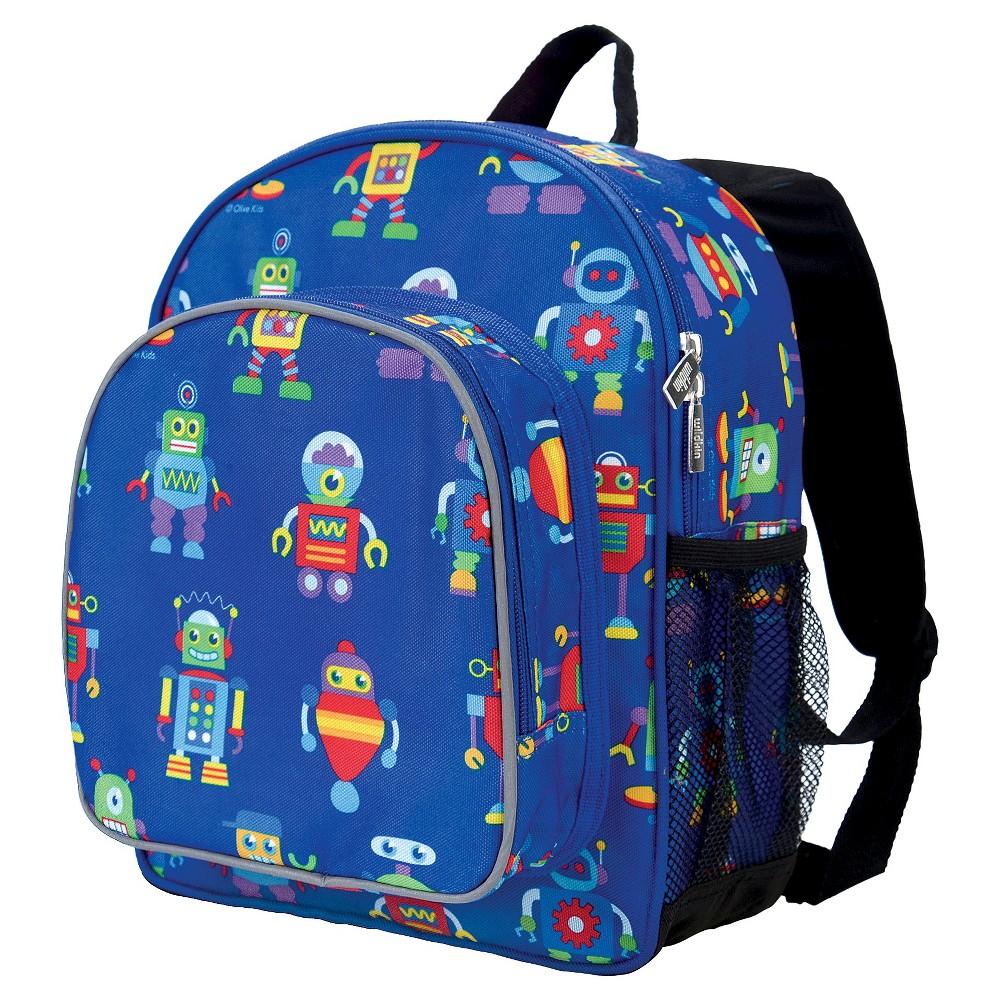 """Image of """"Wildkin 12"""""""" Olive Robots Pack n Snack Kids' Backpack - Blue Robots"""""""