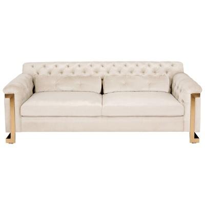 Lethbridge Tufted Velvet Sofa White - Safavieh