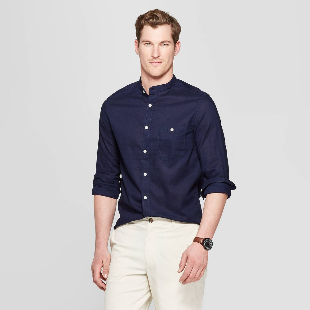 Men's Long Sleeve Mandarin Collared Linen Cotton Button-Down Shirt - Goodfellow & Co Xavier Navy 2XL